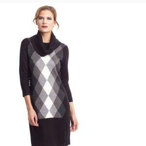 Sandra Darren Argyle Sweater Dress XL Cowl Neck